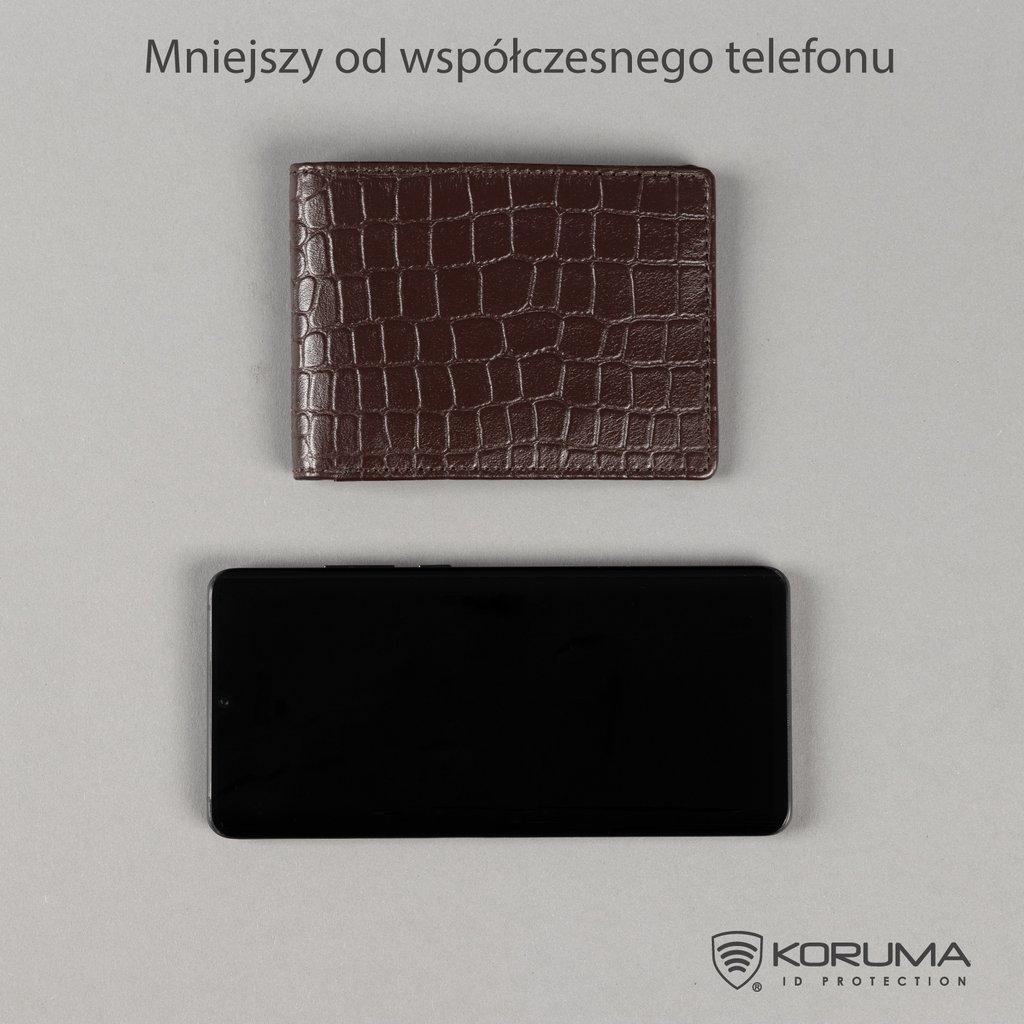 Ultra cienki portfel na banknoty oraz karty zbliżeniowe (Brązowy)