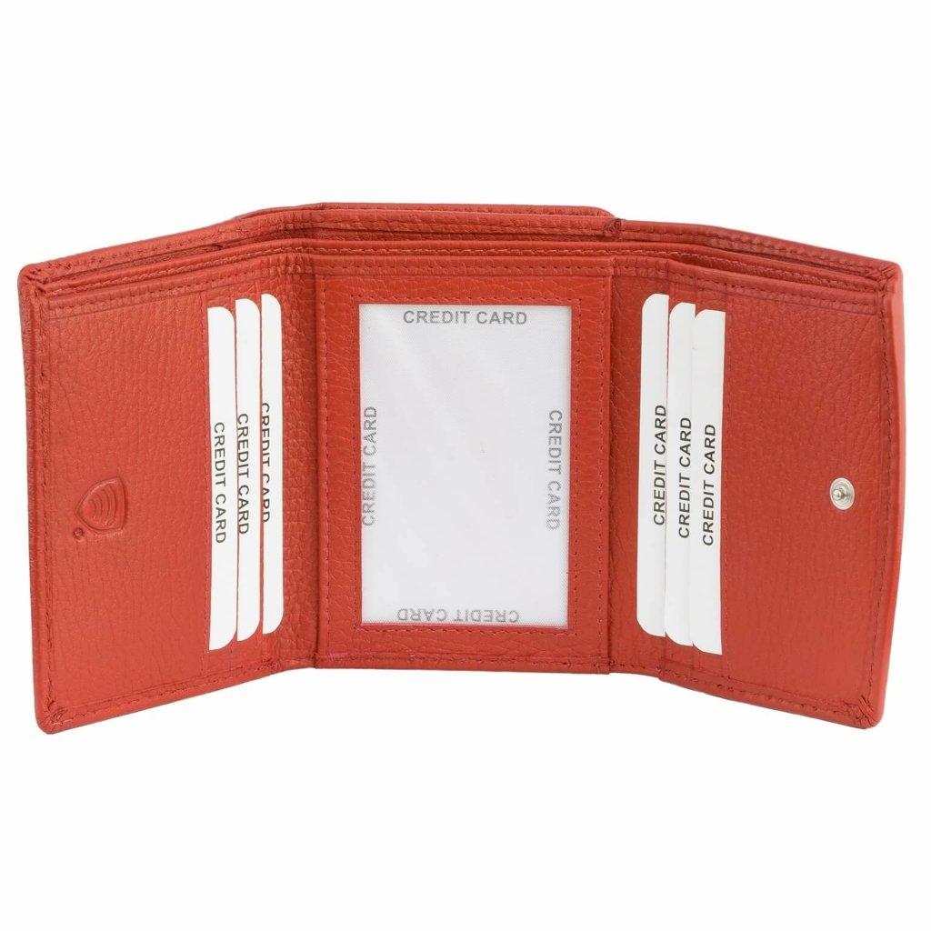 3cc611cd361a8 Mała Damska Portmonetka RFID z Ochroną Kart Zbllżeniowych - Skórzana ...