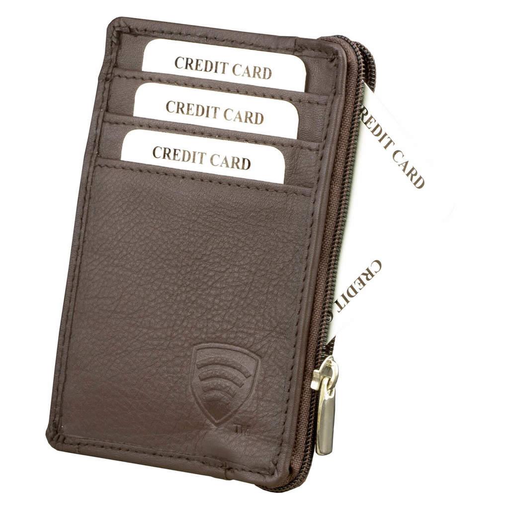 bcd020ca2df26 Mały skórzany portfel na karty zamykany na zamek (Brązowy) Kliknij