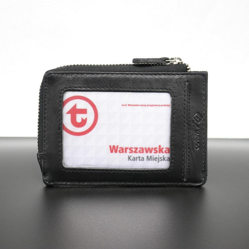 b255f4f7ec21e Mały skórzany portfel na karty zamykany na zamek (Czarny) Kliknij