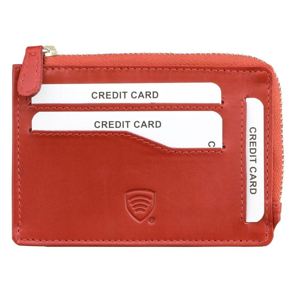 ffe1c73a8e4fc Mały skórzany portfel na karty zamykany na zamek (Czerwony) Kliknij