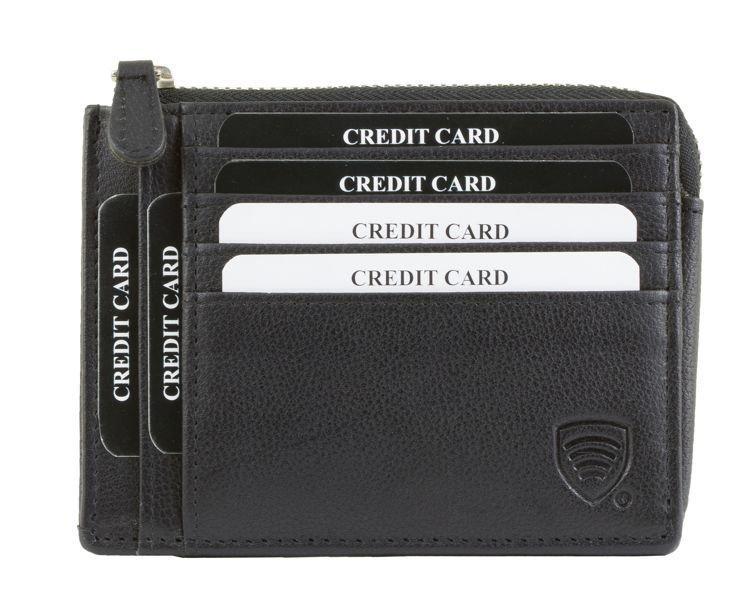 840448a90156d Skórzana portmonetka na karty zamykana na zamek (Czarny) Kliknij