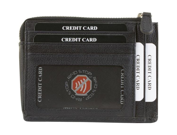 596fa8c38c1da ... Skórzana portmonetka na karty zamykana na zamek (Czarny) Kliknij