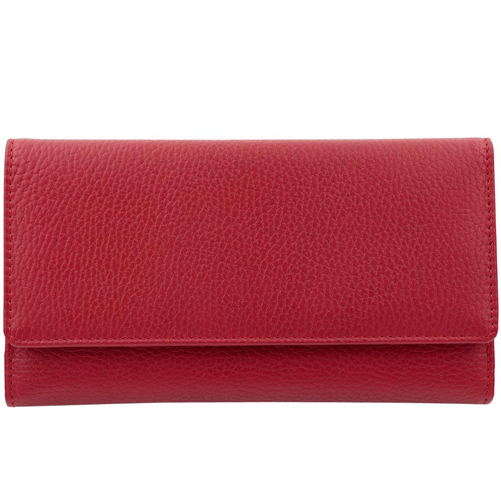 d3273f93a3325 Skórzany damski portfel zabezpieczający karty zbliżeniowe (Czerwony)