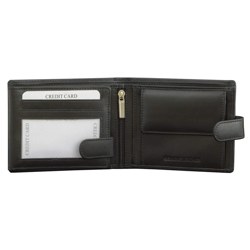 0e597d3d295e8 Skórzany Męski Portfel z Ochroną RFID Kart Zbliżeniowych Miejscem na ...